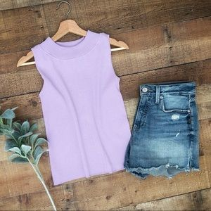 Pale Purple Ribbed Sweater TOP